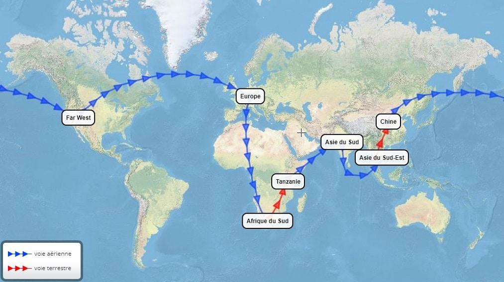 Idée Ditinéraire Tour Du Monde Par Lafrique Lasie Les Usa